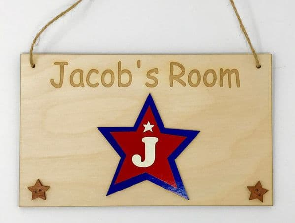 Child's Bedroom Name Plaque Sign - Red/Blue Star
